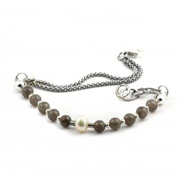 Jadeit marmurkowy i perła